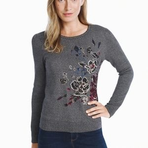 WHBM Embroidered Floral SWEATER